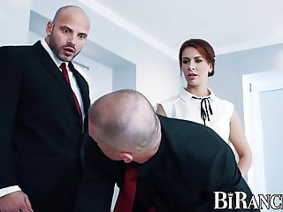 Office babe pegging worker before bisexual threesome
