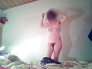 Unaware MILF with big ass, mature tits and hairy cunt