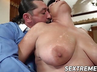Busty old woman with hanging tits rides a massive hard cock