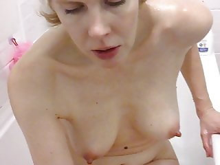 Pretty Blonde With Stiff Nipples Naked In Bath