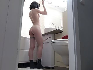 Beautiful Candy Black in the bathroom - Hidden cam