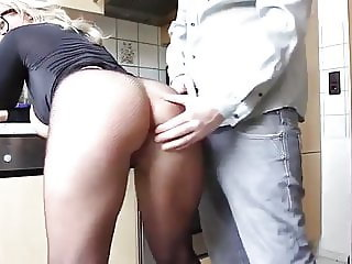 blonde milf with big natural tits getting fucked in kitchen