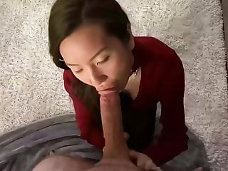 Sexy Asian lady dicks in mouth after party