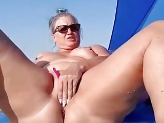 Nudist mom masturbates and sucks cock