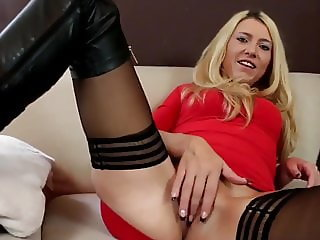 sexy blonde wife gets creampie by her new neighbor man