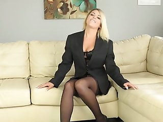 Sexy secretary in pantyhose