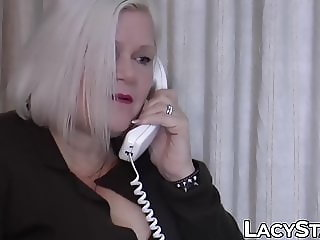 Thirsty GILF Lacey Starr doused in cum after drilling