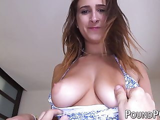 Natural tits babe roughly fucked in POV and choked
