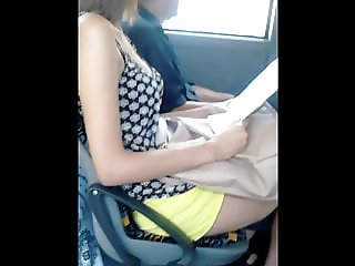 young student with perky tits jiggling on the bus