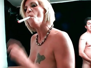 smoking big nippled cougar gets an anniversary surprise