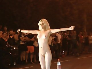 Strip dancing on street