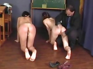 Schoolgirls getting punished for not paying attention