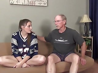Shy Innocent Busty Teen Loves Her 70Yo Owner of Apartment