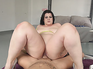 BBW Works Fat White Dick on Boobs and Cunt