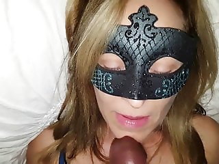 Hot Masked Wife Loves to Swallow Black Cum!