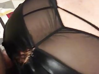 Stiffed big black cock behind tight pussy lips