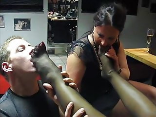 Nylon Foot Worship from Femdom Mistress for Two