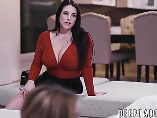MILF Angela White has a threesome with her stepdaughter
