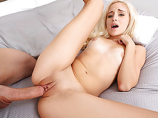 Petite Blonde Whore Banged by a Big cocked Dude