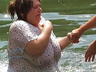 Mature Russian women bathe in cold water