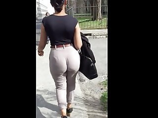 Candid big ass walking in heels