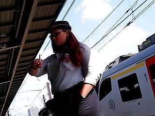 BBW Belgian  French train conductor. Phat big ass in skirt.