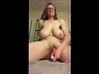 Huge Saggy Tit Mom With Glasses Toys Her Cunt