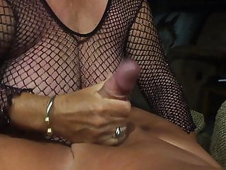 Grandma in a fishnet give a blowjob