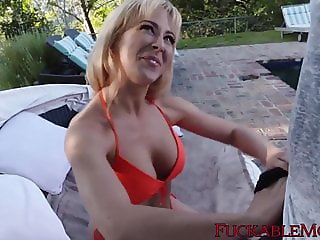 Cherie DeVille titty fucks stepson for outdoor cum in mouth
