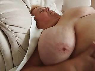 Fat hairy grandma shows ass