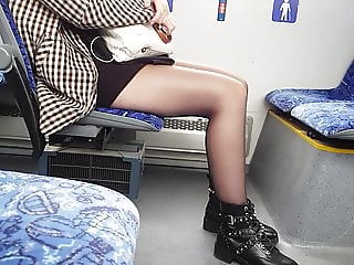 Candid pantyhose on bus