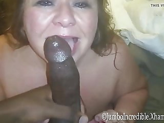 Hungry fat whore swallows black cock and cum