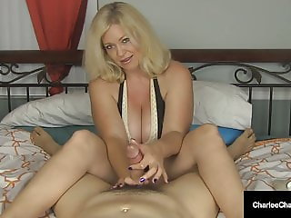 Cock Craving Cougar Charlee Chase Gives Superb Handjob!