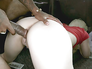 Petite Blonde Hammered By BBC in a moving Van