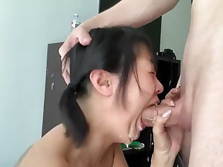 Horny asian cutie worship big Russian cock and takes facial