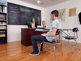 naughty america - cherie deville gives it to her student in the classroom