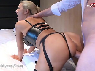 Hot big titted German blonde wife Daynia went on a first date with her boy toy and dragged him in a hotel room for some anal action