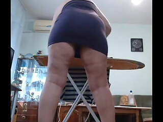 My slut ironing with dildo in ass