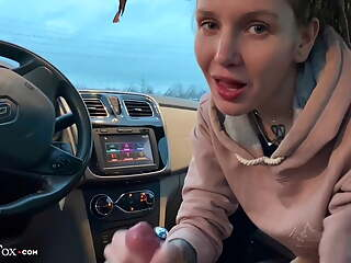 Hot Student Deep Sucking Dick Boyfriend in the Car - Swallow