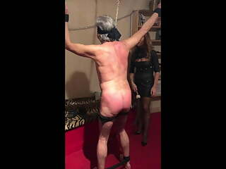BDSM training cuckold  - Pain for Cuckold - bounded  whipped