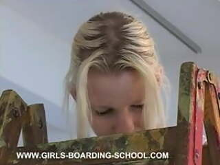 Eve In The Cellar Room spanked ladder in boarding school