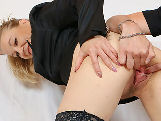 Pussy gaping of horny granny