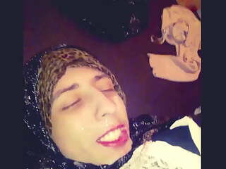 Hijab wife blowjob and get cummed all over her face