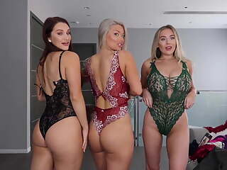 Threesome Busty Lingerie Try On Haul