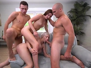 two couples have sex game with each other