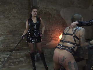 Caning Whipping with two Mistresses