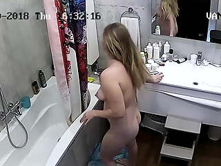 Hidden cameras. Aunt in the shower