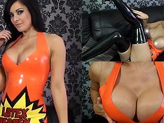 Alicia in Orange Dress and Stockings - LatexHeavenVideo