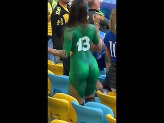 latina dancing naked in public stadium - public nudity