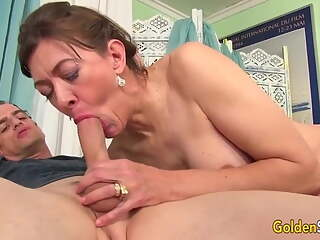 Sensual brunette granny drawn as a missionary
